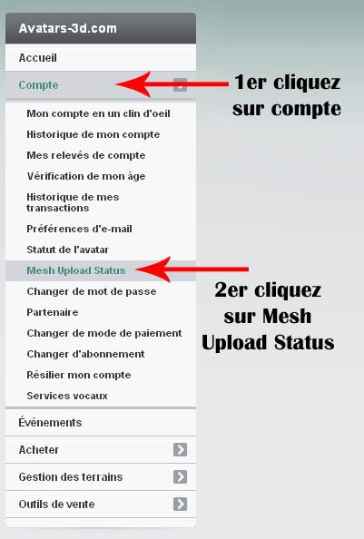 Condition pour uploader un mesh Second life